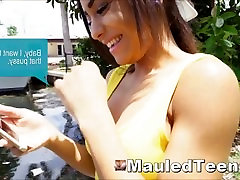Black Teen Slut Treated Rough By Big Cock