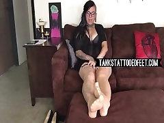 Foot Fetish Pantyhose Tank in nude pantyhose