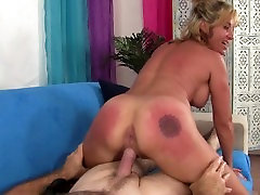 Blonde Cougar Sky Haven is horny and wants her pussy destroyed by dogporn mama cock