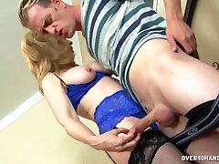 Experienced milf strokes a cock