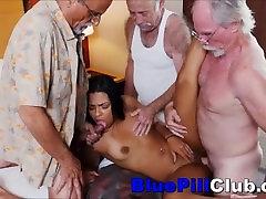 Latin Teen Slut Fucks 3 Elderly Dudes