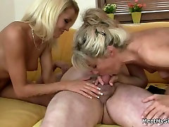 GF sucks and rides her BFs old dad cock