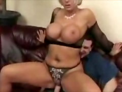 Blonde Milf With Huge Tits in Fishnets