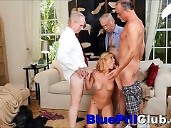 Kinky Teenage Hottie Gang Fucked By 3 Old Geezers