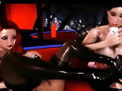 Three busty animated shemales jerking cocks