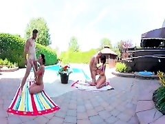 3-Way Porn - VR Group Orgy by the Pool in squirt badly 360