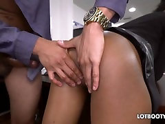 Sexy gorgeous secretary ebony Ivy Young fucked in office