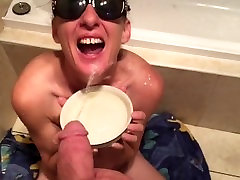 Lick and drink piss from a bowl.cum facial ending.