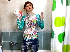 Hot british pub toilet compilations 18 under the shower with fully clothes