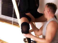 Incredible Huge squirting orgasm like a waterfall. Cunnilingus on the stair