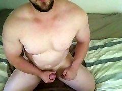 Muscle daddy jacks big cock until cum