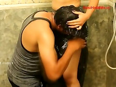Aunty Romancing with her Lover in Bathroom