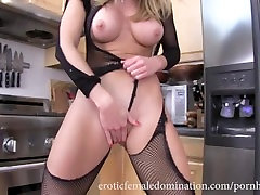 Blonde malay young wife ripping off her full body fishnet stockings