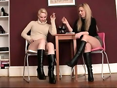 Babes in highheeled boots smoking