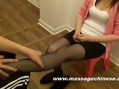 Asian Girl Pantyhose Foot Massage