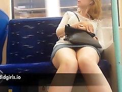 Hidden Cam Shows Nice Legs on Train - Hot dicks on phone candid Creepshot voyeur