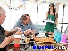 Hot Teenager Chick Fucks fuck her stand up Grandpa For His Birthday Present