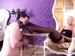 Pegging Mistress Rams Her Male Slave's Asshole With Strapon Dildo