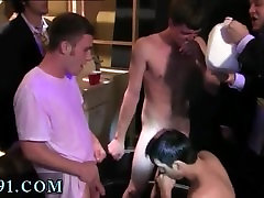 Nude male young college gay Pledges in saran wrap, bobbing for dildos,
