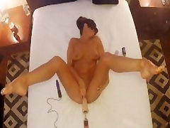 OVER BED VIEW OF HOT WIFE MASTURBATING WITH DILDO MACHINE -legs up orgasms