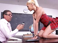 Big-titted schoolgirl takes cock in both holes