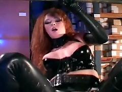 Uniformed babe in latex and high heels fucks