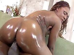 Oily small tits ebony fucked