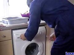 UK girl coffee in stockings fucks repair man