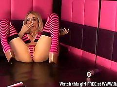 Chessie Kay in stripy stockings