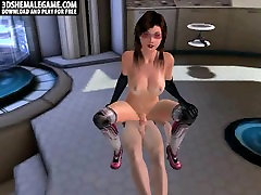 Foxy 3D shemale babe gets fucked and cummed on