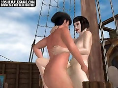 Hot 3D shemale sucks cock and gets fucked on a boat