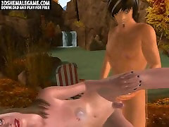 3D shemale sucks cock and gets fucked outdoors