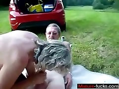 From MATURE-FUCKS.COM - Mature couple outdoor internal cum