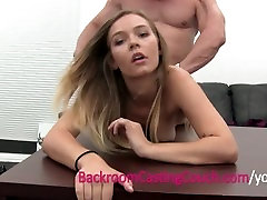 Blonde Waitress Amateur Ass Fucked and Ambush Creampie on Casting Couch