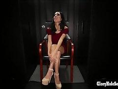 Glory hole Secrets latina spinner swallows strangers hot cum