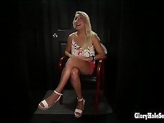Gloryhole Secrects Blonde Spinner swallowing loads of cum