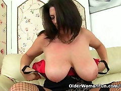 British milkman fucker Lulu works her big naturals and wet pussy