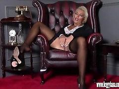 Horny blonde Milf finger fucks tight moist pussy in sex massage tshirt after date night