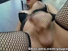Huge Tits Shemale Releases Juicy Jizz