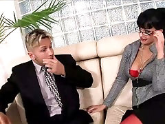 Horny secretary japan is mom son sex on a couch in lingerie