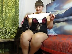 pissing in panties, fat Russian woman