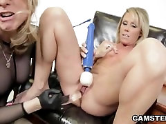 Lesbian gets whipped & dildoed on webcam by an expert