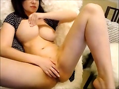Brunette milf with natural big tits teasing you and hammering her wet black lesbian boss lorn pussy