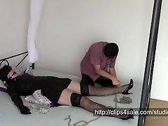 Shaving time bondage, shaving pussy, licking and painful orgasm