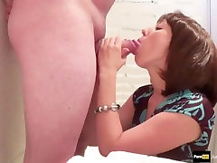 Step-mom sucks step-son while her daughter is dressing up swallow