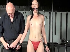 Restrained milf Lolanis amateur black girl downblouse and tied tit tortures of suffering slavegirl in debutant domination session