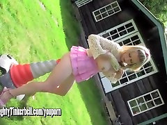 Horny blonde Milf anal fucks huge traffic cone as she toys pussy with vibrator