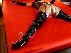1.Spread eagle bondaged slut in thigh high boots - The begginng