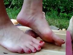 Nice feet on cockbox cock and balls trample massage - POV