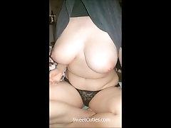 Busty 20yr old flashing 34G boobs at home
